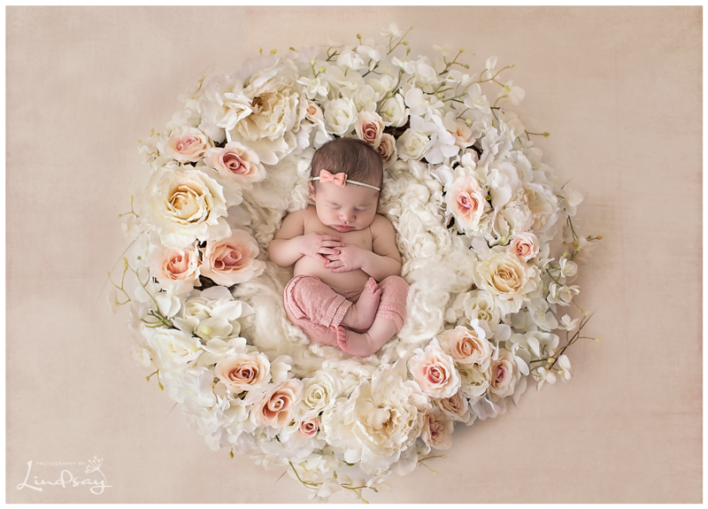 Newborn girl asleep in flower wreath at photography by lindsay studio