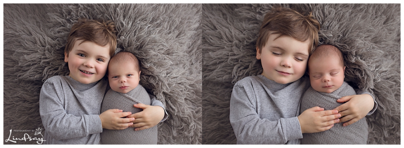 baby boy and big brother lying on grey flokati at Photography by Lindsay studio.