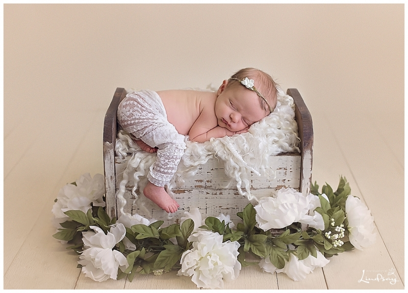 Baby girl asleep on wooden bed in white lace pants at Photography by Lindsay studio.