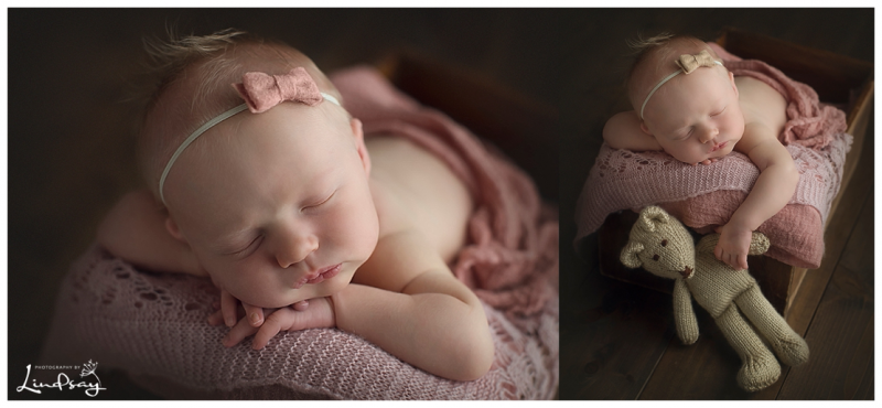 Two images of baby girl asleep in wooden box while holding brown knit bear at Photography by Lindsay studio.