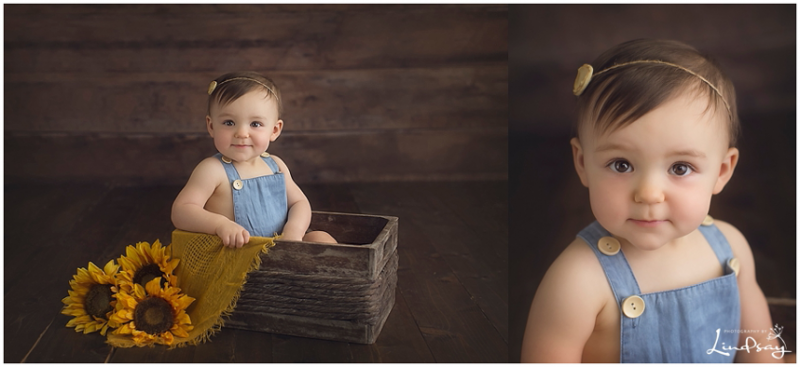 Baby girl in wooden prop with sunflowers at Photography by Lindsay studio.