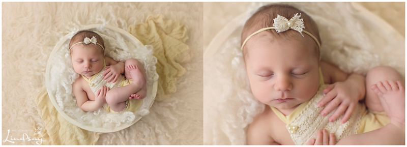 2 images of baby girl asleep in white wooden bowl wearing yellow romper.