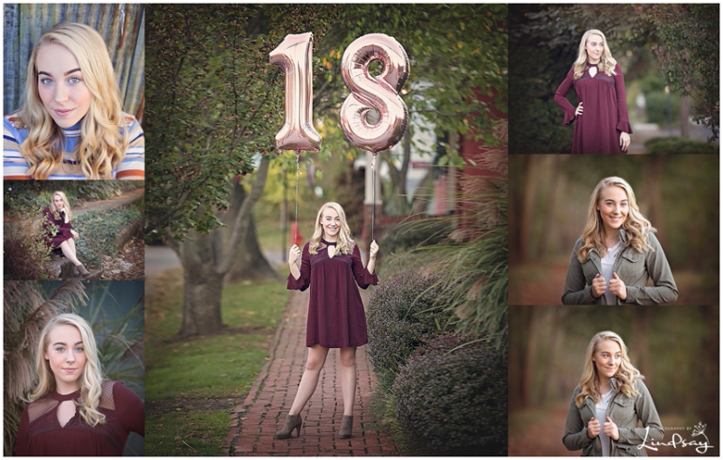 collage of high school girl in wooded area and downtown by senior photographer martinsburg wv Photography by Lindsay.