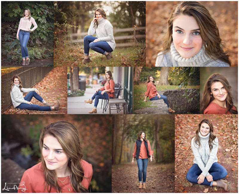 Collage of senior girl outside during fall for Photography by Lindsay high school senior session.