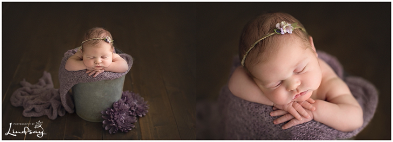 Two images taken of baby alseep in tin bucket with purple flowers by Winchester Virginia Baby Photographer.