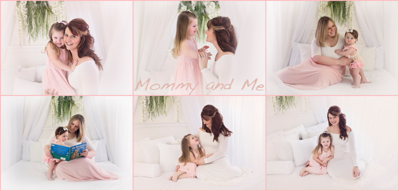 collage of mommy and me pictures on a white bed with sheer curtains at Photography by Lindsay studio.