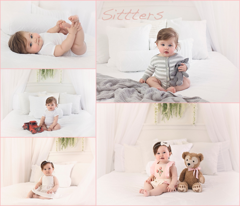 Collage of 7 month old babies on white bed with sheer curtains at Photography by Lindsay Martinsburg studio.