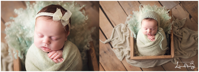 Two images of newborn swaddled in mint green wrap and asleep in a wooden crate while at Photography by Lindsay studio.