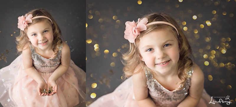 Two images of little girl in pink dress playing with gold glitter at Photography by Lindsay studio.