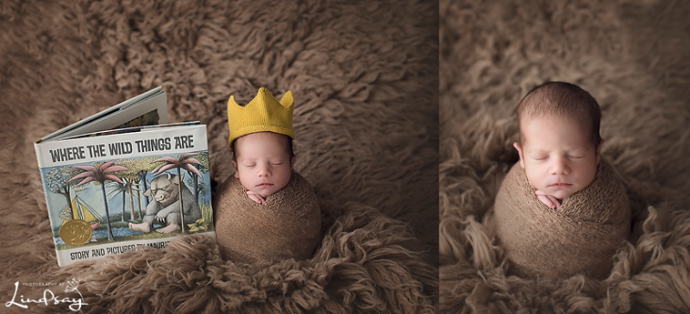 Sweet baby boy photos of newborn wrapped in tan knit wrap and wearing knit crown.
