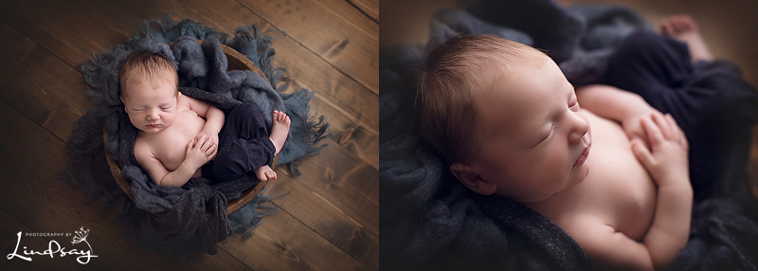 Two images of baby boy in a wooden bowl wearing blue pants at photography by Lindsay studio.