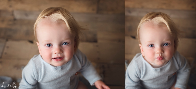 Two images of one year old boy looking at camera and wearing a blue romper while at Photography by Lindsay Martinsburg studio.