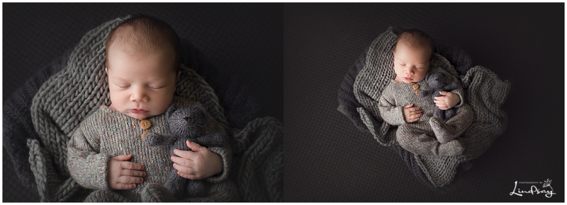 Cute baby boy photos of newborn asleep in grey knit outfit and holding grey knit bear.