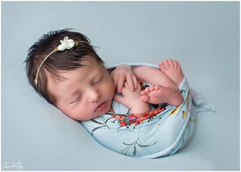 Newborn girl swaddled in blue floral wrap on a blue blanket at Photography by Lindsay studio.