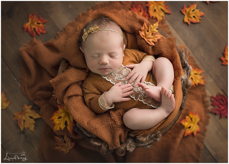 Newborn girl asleep in wooden bowl with fall leaves on floor around her while at Photography by Lindsay studio.