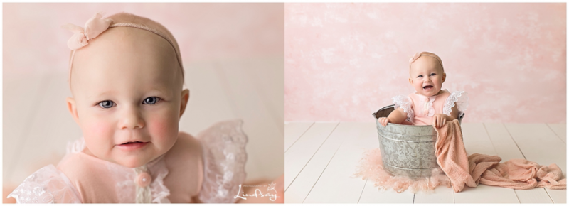 Two images of one year old girl in pink romper with pink backdrop while at Photography by Lindsay studio.