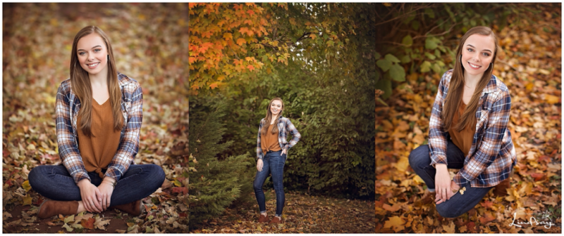 3 images of teen in fall background with leaves everywhere and smiling at the camera.