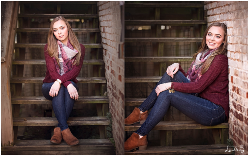 Two images of teen girl sitting on wooden steps and looking at the camera with Photography by Lindsay.