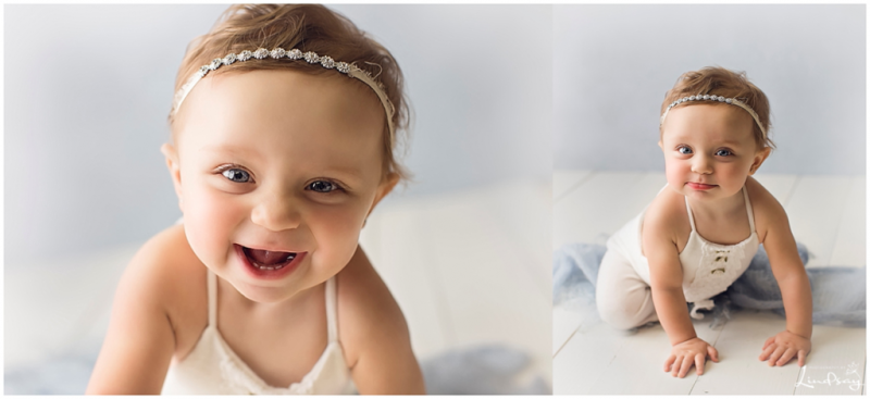 Two images of baby girl in crawling position and smiling while at photography by Lindsay studio.