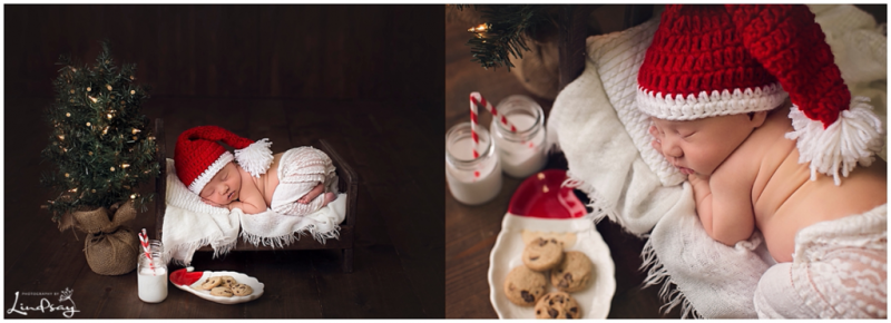 Two images of baby girl asleep on wooden bed next to Christmas tree and cookies and milk while at Photography by Lindsay studio.