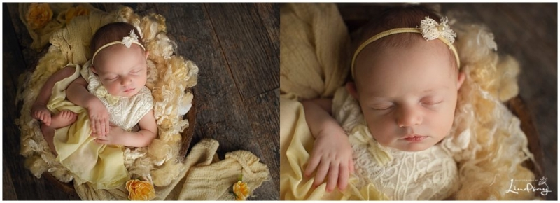 Two images of newborn wearing yellow romper and asleep in wooden bowl taken by Hagerstown Photographer.