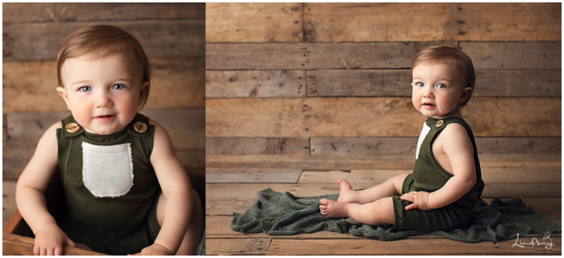 Two images of baby boy wearing green romper and sitting on wood backdrop while at Photography by Lindsay studio.