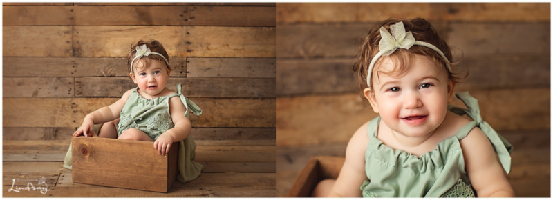 Two images of Baby sitting in wooden box while wearing green romper at Photography by Lindsay studio.