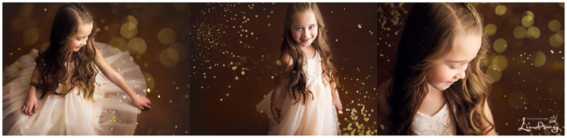 Little girl wearing cream dress and playing in gold glitter at Photography by Lindsay studio.