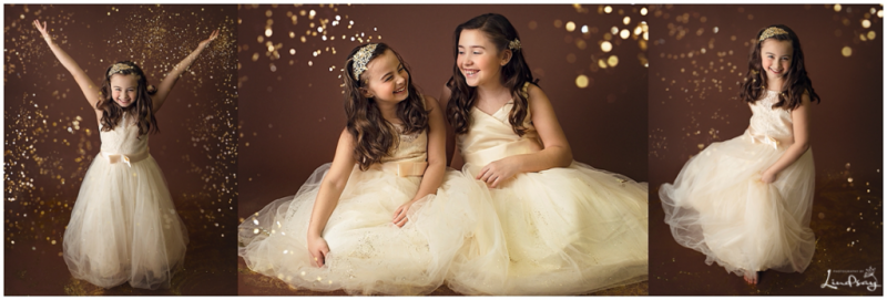 Three images of sisters playing in glitter with ball gowns on while at Photography by Lindsay studio.