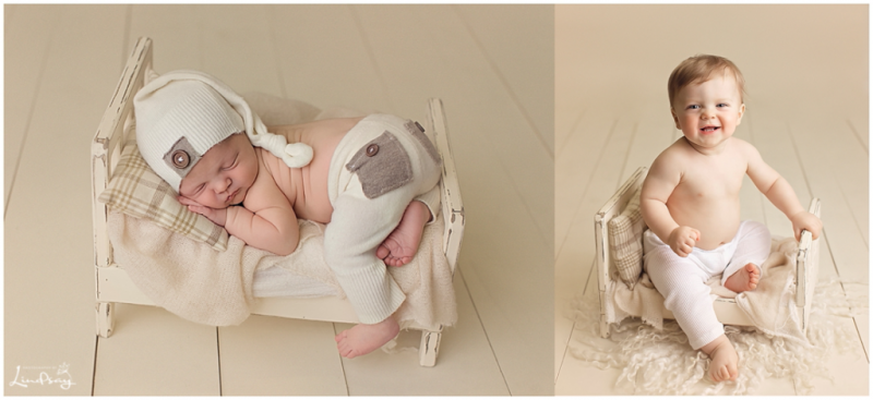 One image of newborn asleep on cream wooden bed and one image of baby boy one year later on same bed.